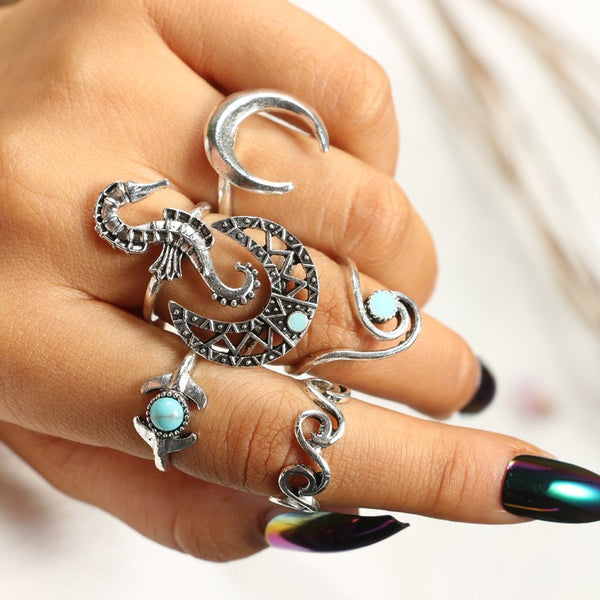 Majestic Mermaid 6-Piece Ring Set - ESMEBO