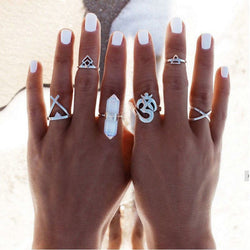 Stone & Om 6-Piece Ring Set - ESMEBO