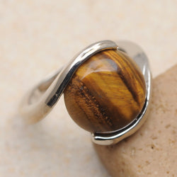 Tibetan Swirl Tigers Eye Ring