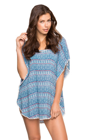 Side Slit Bordered Picot Lace Cover Up