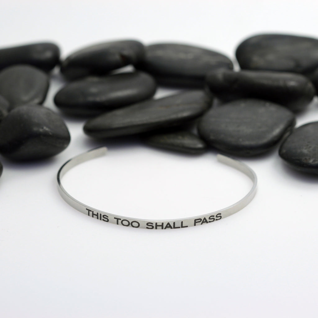 This Too Shall Pass Skinny Motivational Statement | Engraved Cuff Bracelet - Hand Stamped