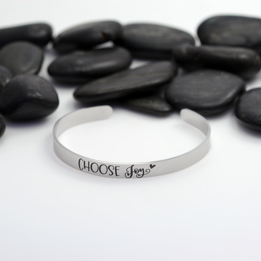 Choose Joy Motivational Statement | Engraved Cuff Bracelet - Hand Stamped