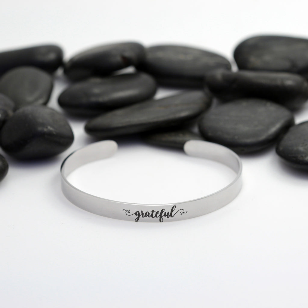 Grateful Motivational Statement | Engraved Cuff Bracelet - Hand Stamped