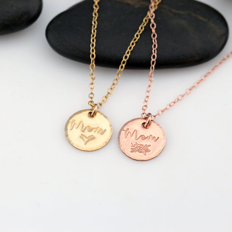 "Dainty 0.5"" GF Mom Necklace - Hand Stamped"