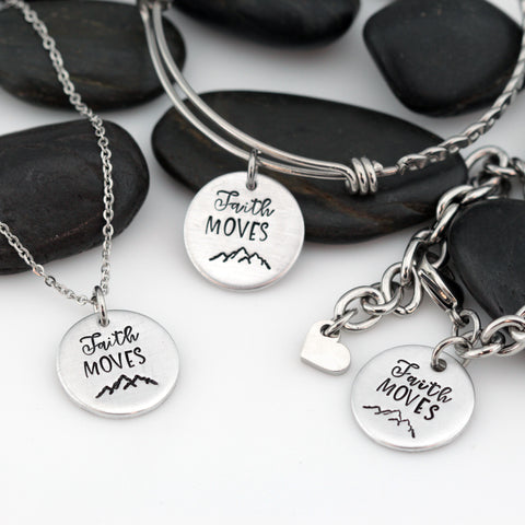 Faith Moves Mountains | Adventure and Outdoor Lovers Gift Idea | Mountain Scenery - Necklace | Expandable Bangle | Bracelet - Hand Stamped