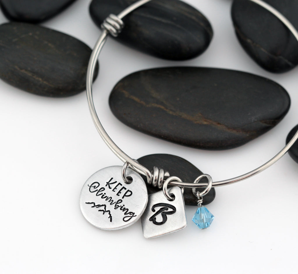 Keep Climbing | Adventure and Outdoor Lovers Gift Idea | Mountain Scenery - Personalized Expandable Bangle Bracelet - Hand Stamped