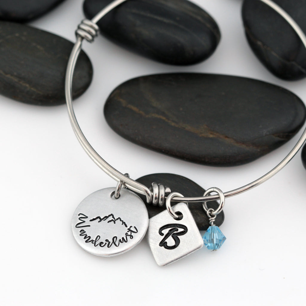 Wanderlust | Adventure and Outdoor Lovers Gift Idea | Mountain Scenery - Personalized Expandable Bangle Bracelet - Hand Stamped