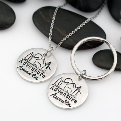 Adventure Awaits | Adventure and Outdoor Lovers Gift Idea | Mountain Scenery Keychain OR Necklace - Hand Stamped