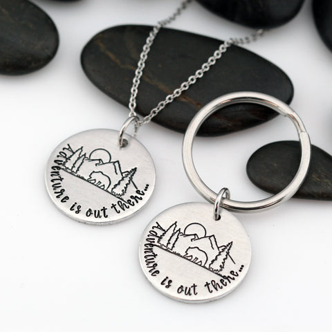Adventure Is Out There | Adventure and Outdoor Lovers Gift Idea | Mountain Scenery Keychain OR Necklace - Hand Stamped