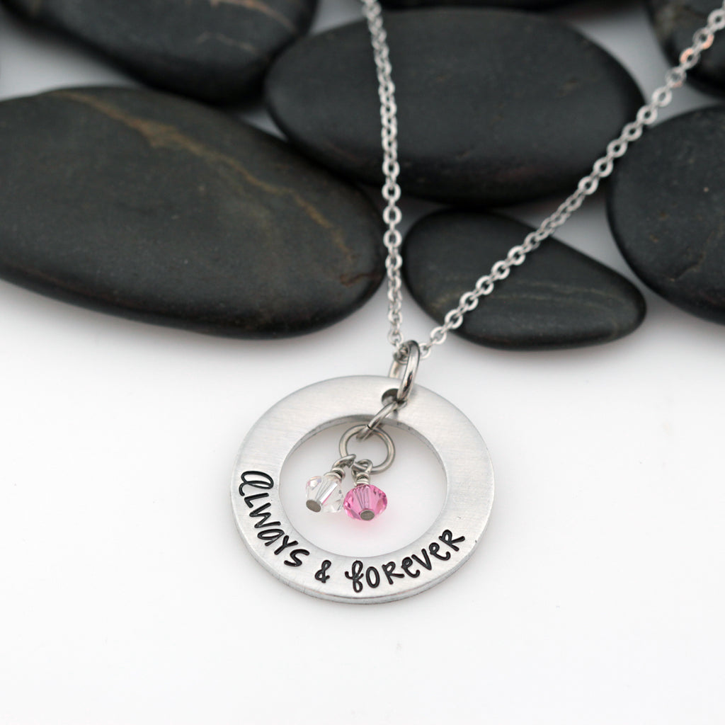 Always & Forever | Personalized Mother's Washer Necklace With Birthstones - Hand Stamped