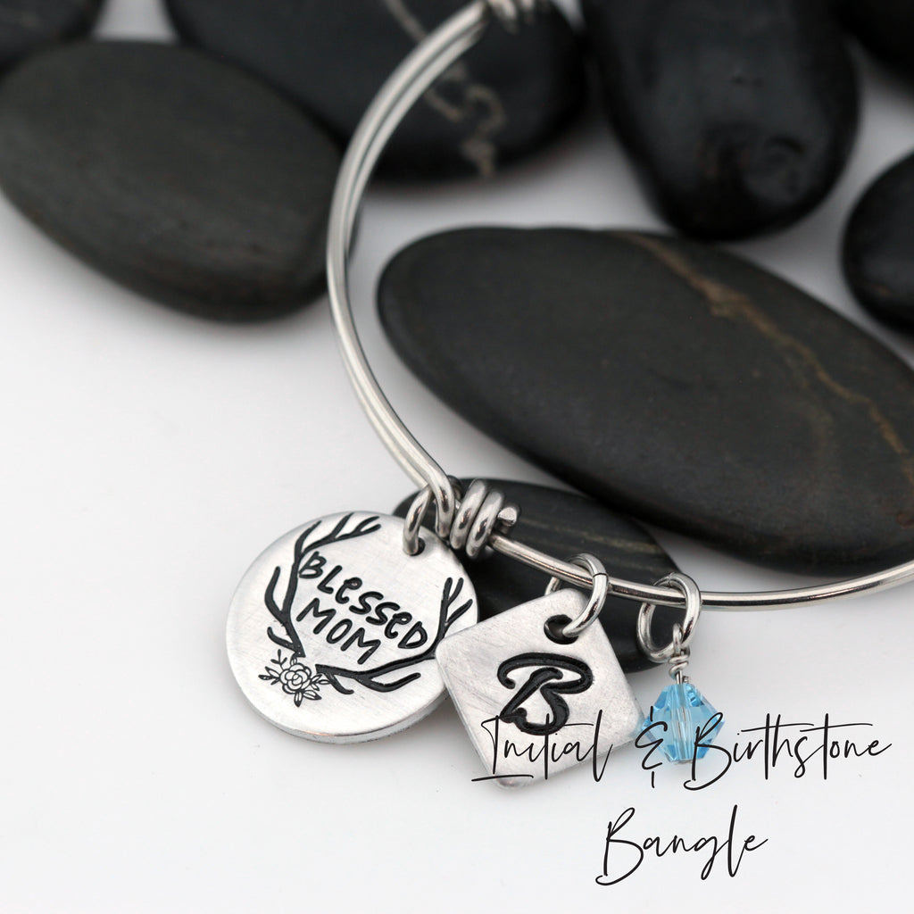 Blessed Mom | Personalized Expandable Bangle Bracelet