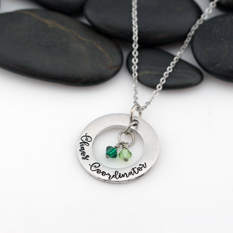 Chaos Coordinator | Personalized Mother's Washer Necklace With Birthstones - Hand Stamped