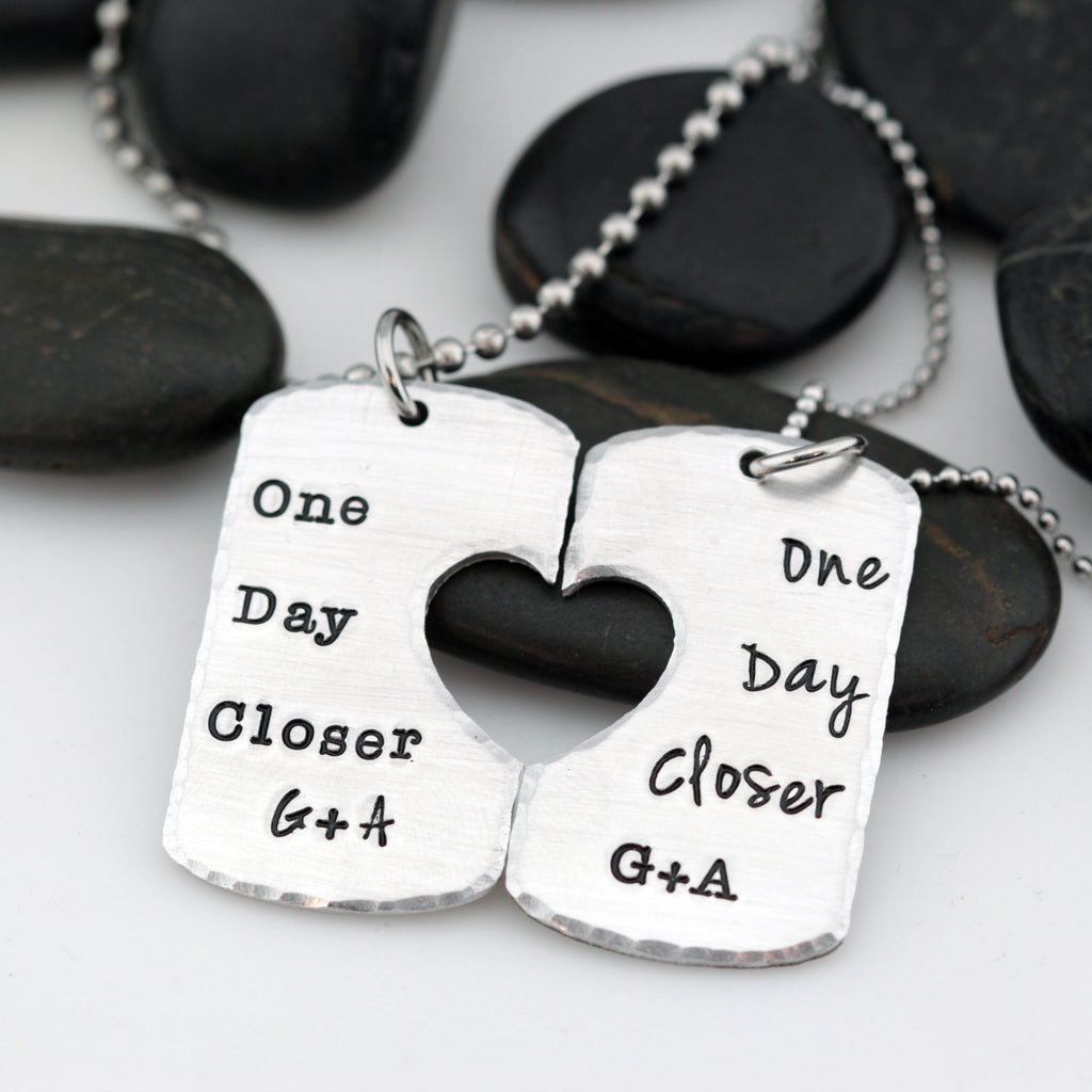 One Day Closer | I'll Be Back Military Deployment | Long Distance Necklace Set - Hand Stamped