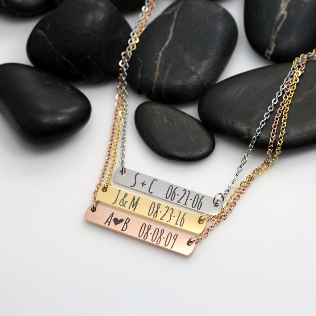Personalized Date And Initials Bar Necklace - Hand Stamped