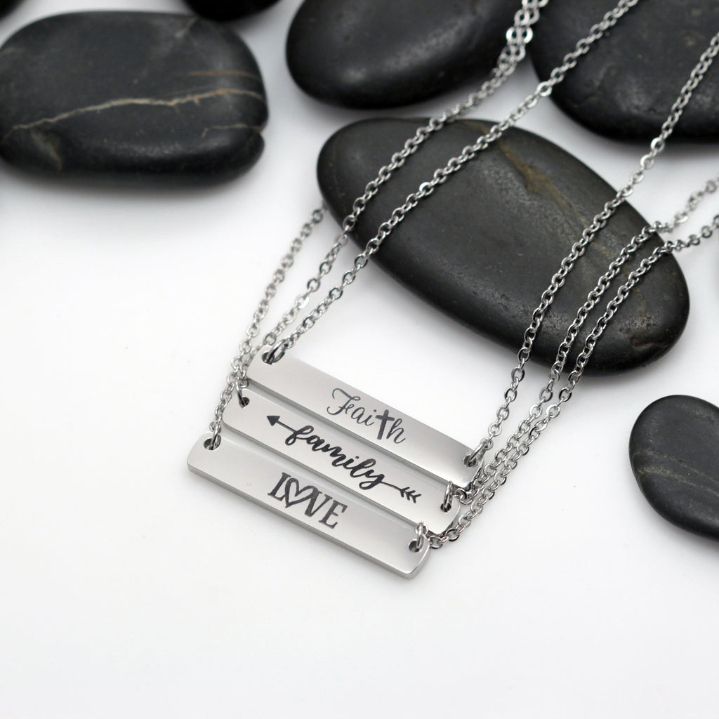 Faith | Family | Love Motivational Statement Bar Necklace - Hand Stamped