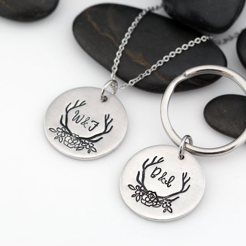 Floral Antlers Personalized Monogram Couples Initial Keychain - Hand Stamped