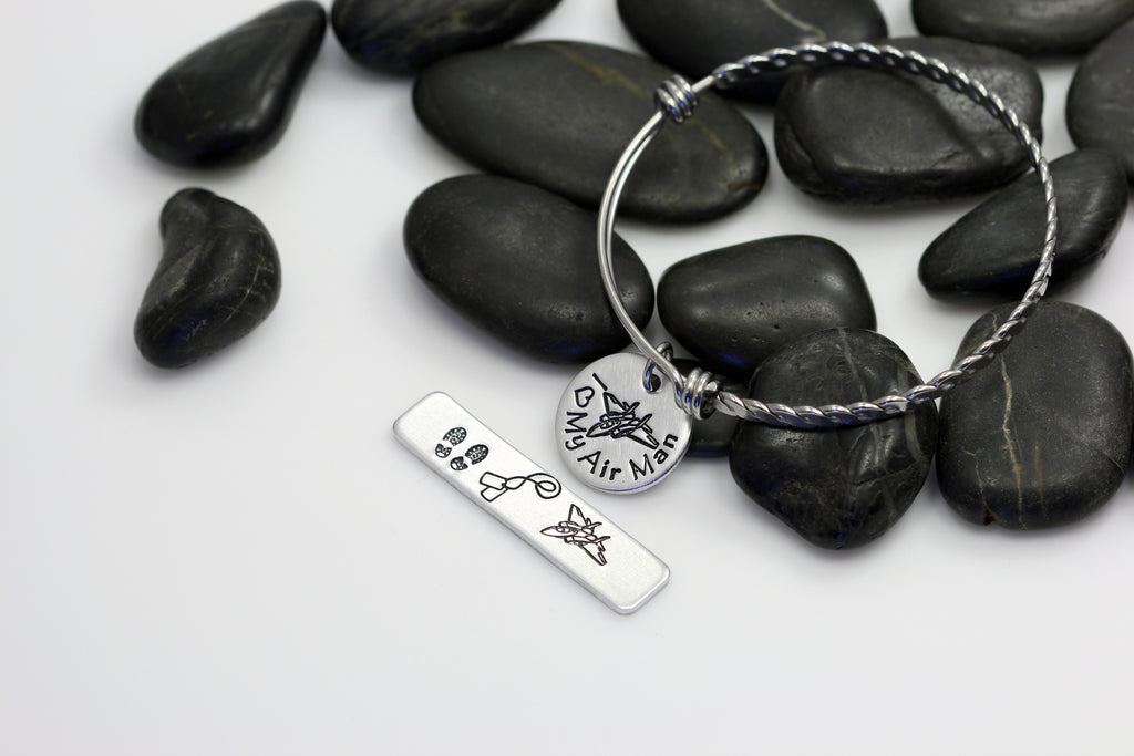 I Love My Air Man Hand Stamped | Custom | Expandable Bangle Bracelet - Hand Stamped