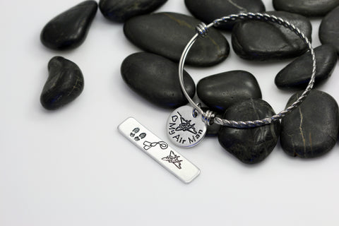 I Love My Air Man Hand Stamped | Custom | Expandable Bangle Bracelet