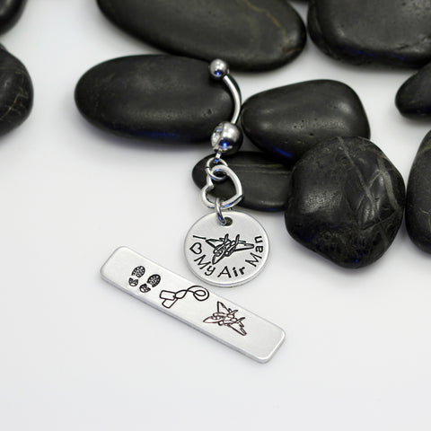 I Love My Air Man Hand Stamped | Custom | AIR FORCE Belly Ring