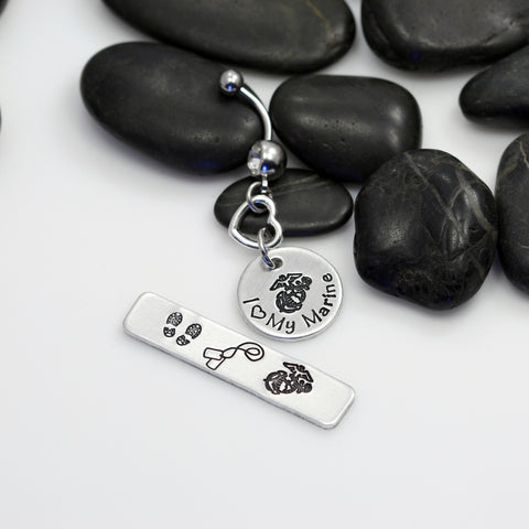 I Love My Marine Hand Stamped | Custom | USMC | MARINES Belly Ring - Hand Stamped