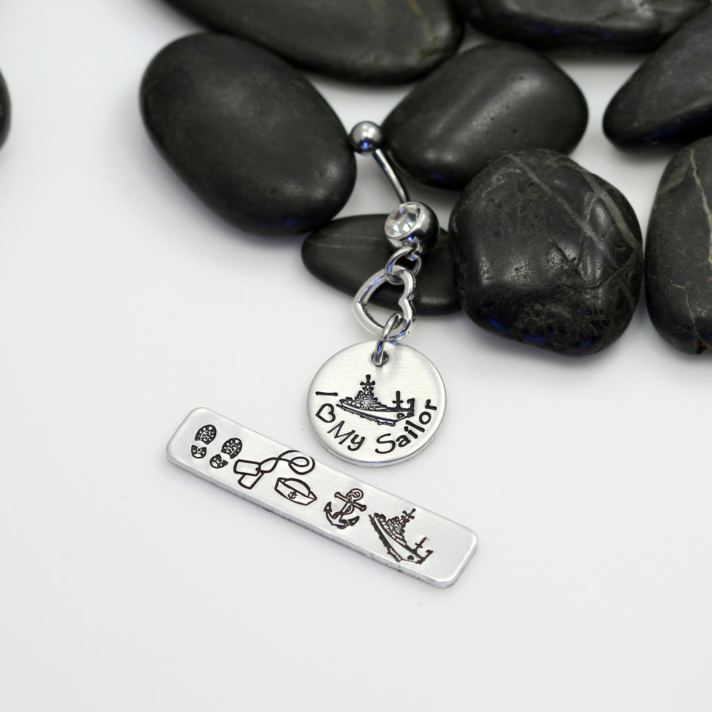 I Love My Sailor Hand Stamped | Custom | NAVY Belly Ring - Hand Stamped
