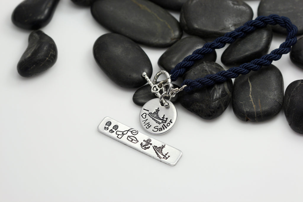 I Love My Sailor Hand Stamped | Custom | Boot Band Bracelet - Hand Stamped