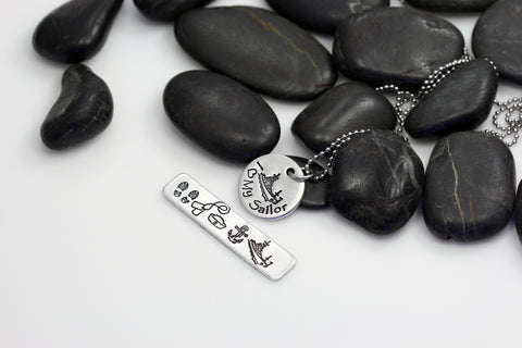 I Love My Sailor Hand Stamped | Custom | Necklace - Hand Stamped