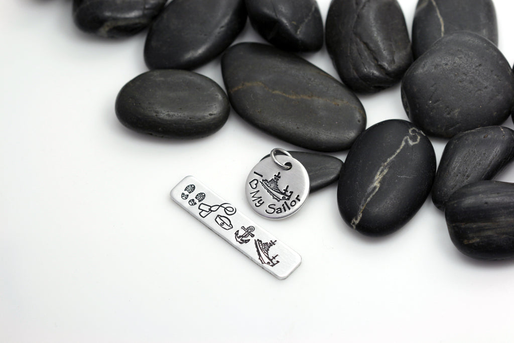 I Love My Sailor Hand Stamped | Custom | Build Your Own | DIY | Charm - Hand Stamped