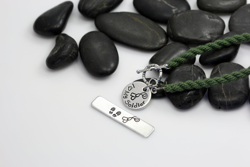 I Love My Soldier Hand Stamped | Custom | Boot Band Bracelet - Hand Stamped