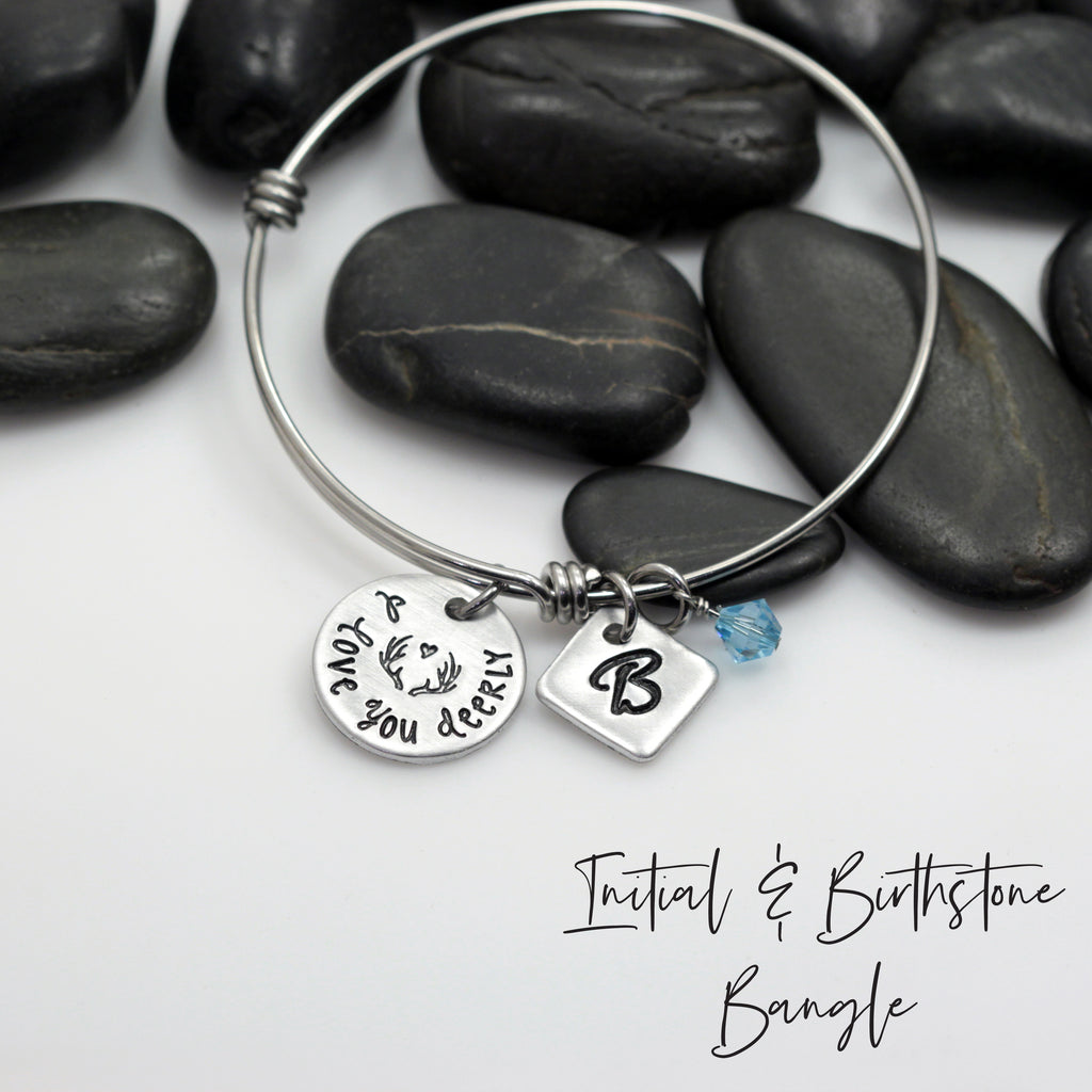 I Love You Deerly - Personalized Expandable Bangle Bracelet - Hand Stamped
