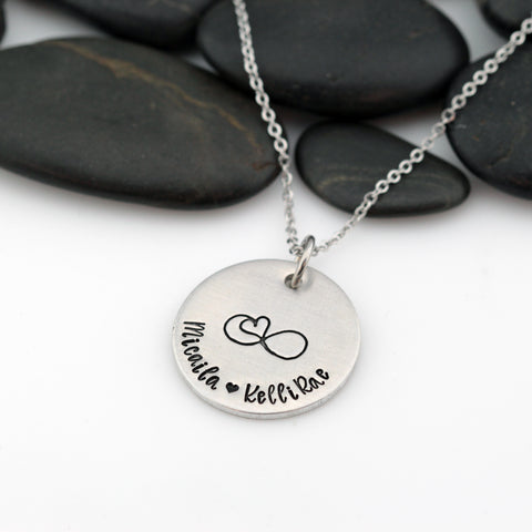 Infinity Heart | Personalized Name | Custom Mother's Necklace - Hand Stamped
