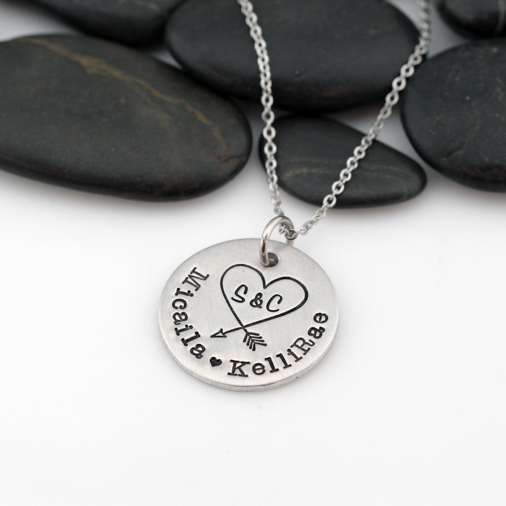 Arrow Heart | Personalized Names With Initials | Custom Mother's Necklace - Hand Stamped