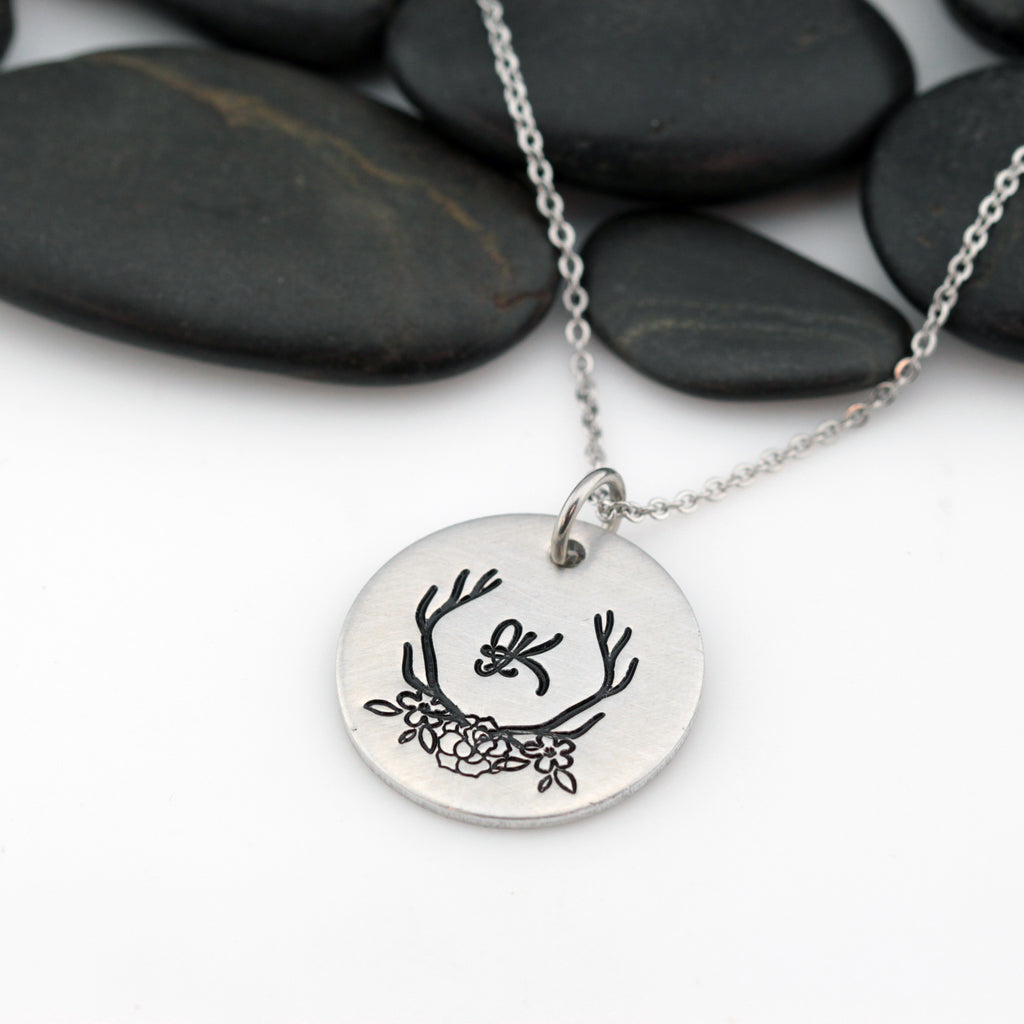 Boho Antlers Personalized Monogram Initial Necklace - Hand Stamped