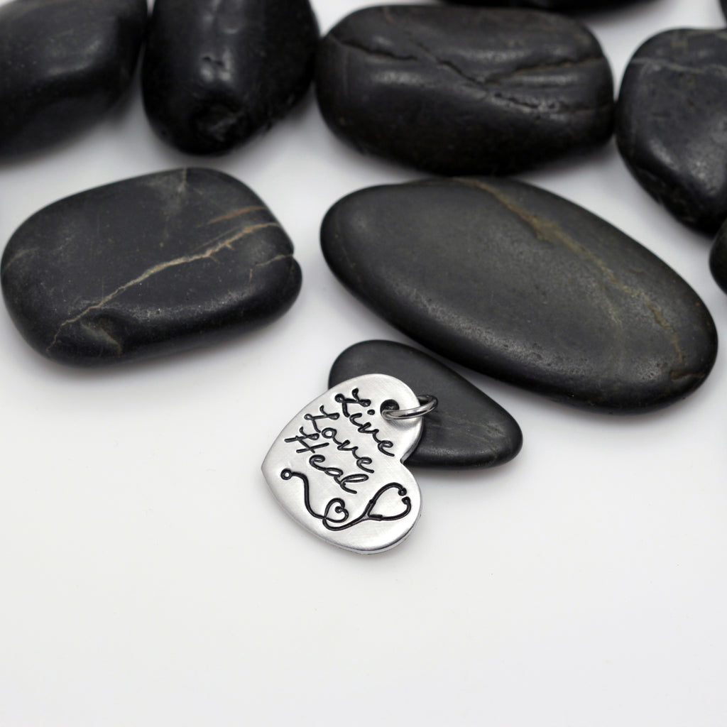 Live Love Heal | RN | Nurse Appreciation - Charm - Hand Stamped