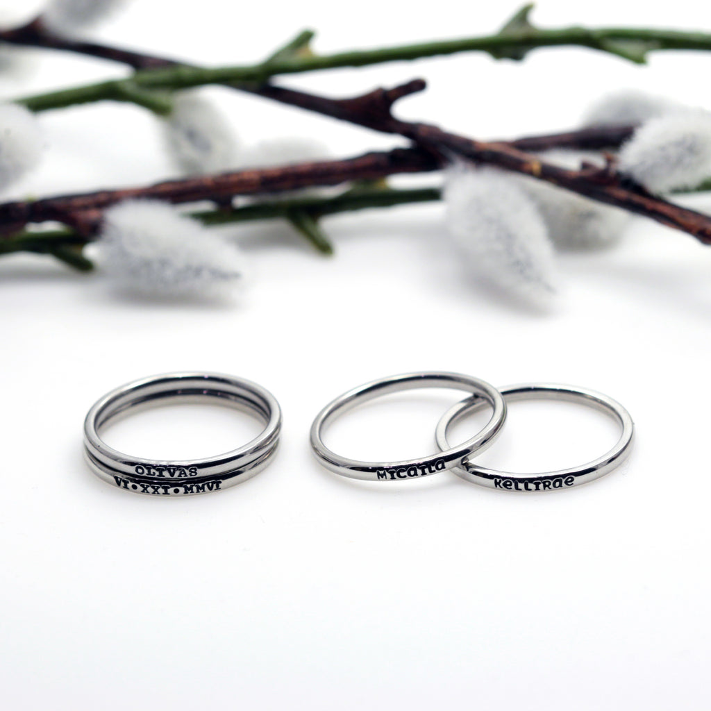 2mm Dainty Personalized Tiny Thin Stackable Stainless Steel Name Ring(s) - Hand Stamped