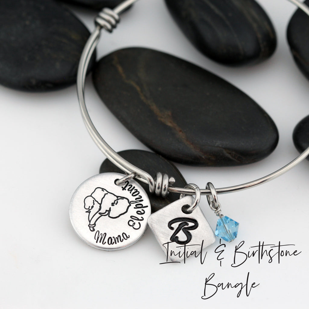 Mama Elephant - Personalized Expandable Bangle Bracelet