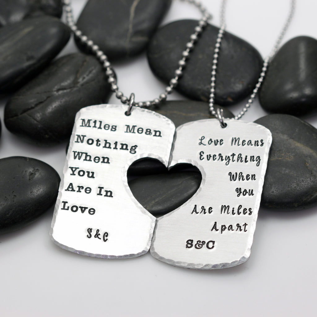 Miles Mean Nothing | Love Means Everything Military Support | Deployment | Long Distance Couples Necklace Set - Hand Stamped