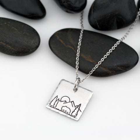 Mountain Scenery Necklace | Adventure and Outdoor Lovers Gift Idea - Hand Stamped