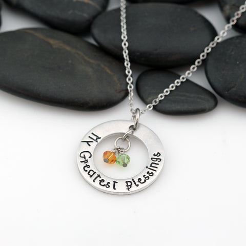 My Greatest Blessings | Personalized Mother's Washer Necklace With Birthstones - Hand Stamped
