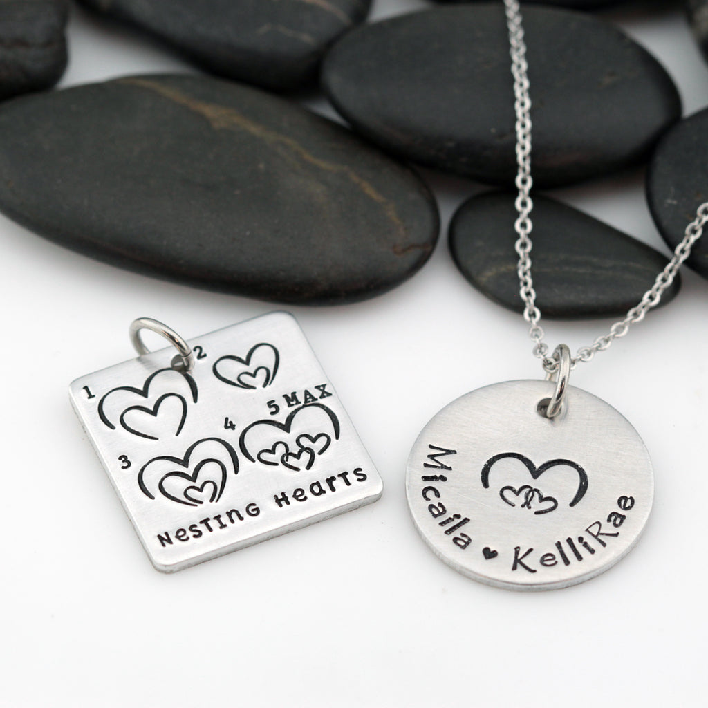 Nesting Hearts | Personalized Name | Custom Mother's Necklace - Hand Stamped