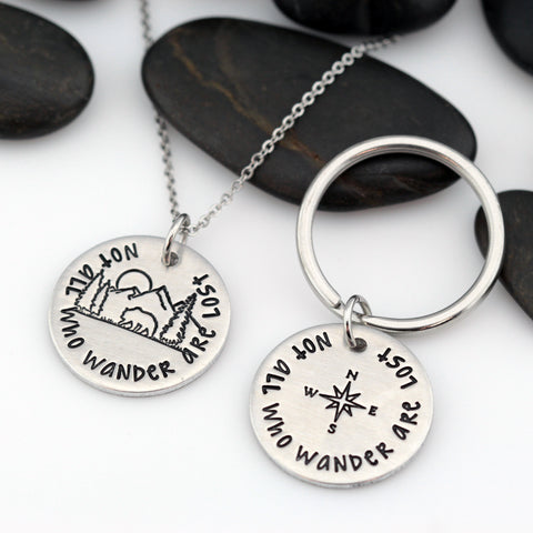 Not All Who Wander Are Lost | Adventure and Outdoor Lovers Gift Idea | Mountain Scenery Compass Keychain OR Necklace - Hand Stamped
