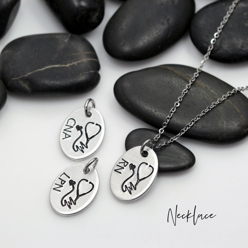 Heartbeat Stethoscope | RN | Nurse Appreciation - Necklace | Expandable Bangle | Bracelet - Hand Stamped