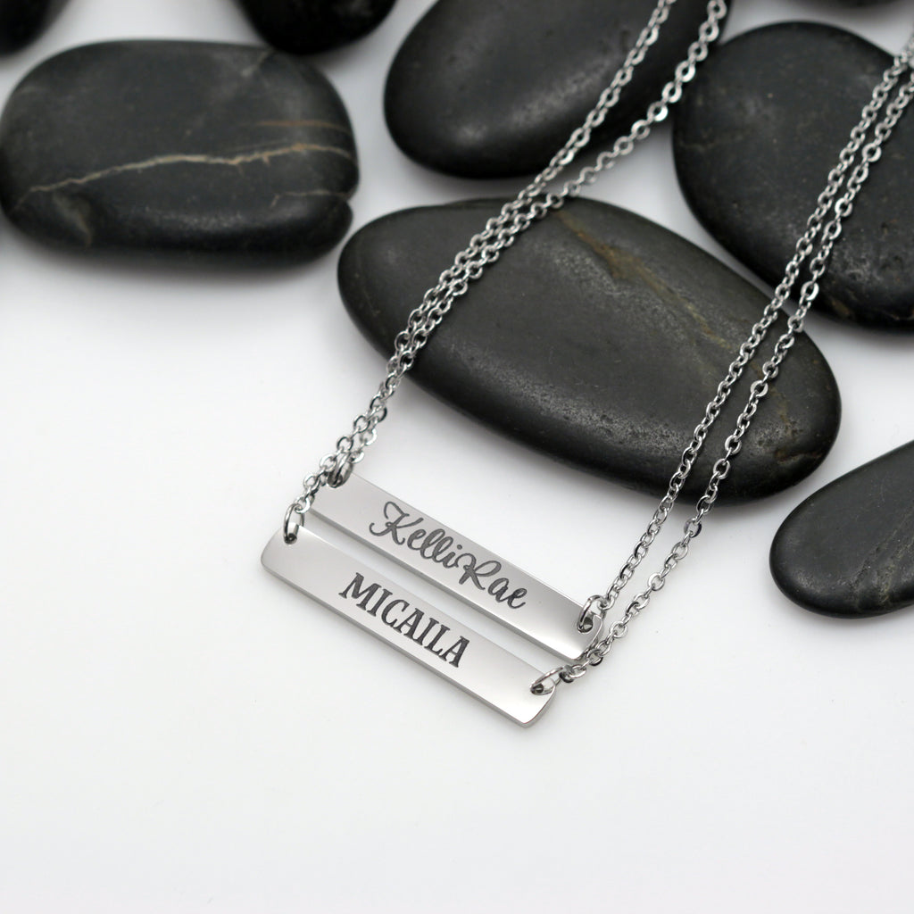 Personalized Name OR Word Engraved Bar Necklace - Hand Stamped