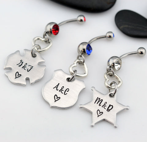 Couples Initials Belly Ring | Maltese Cross | Firefighter | Police Officer Badge | Deputy Sheriff Badge - Hand Stamped