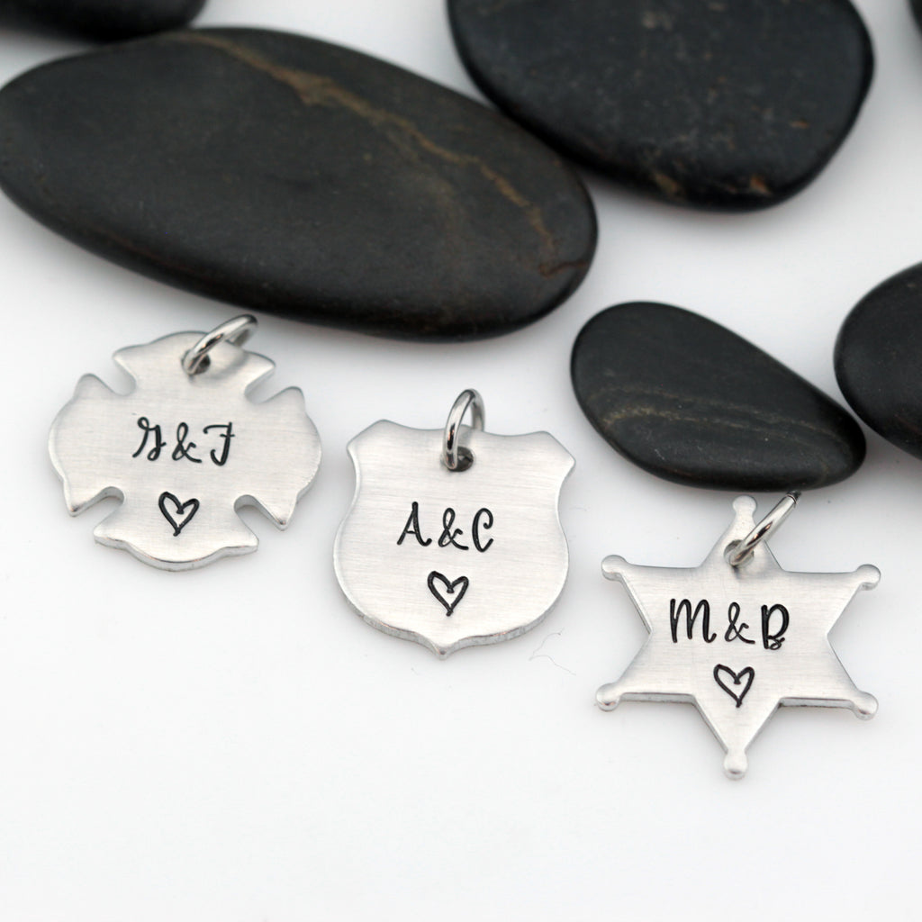 Couples Initials Charm | Maltese Cross | Firefighter | Police Officer Badge | Deputy Sheriff Badge - Hand Stamped