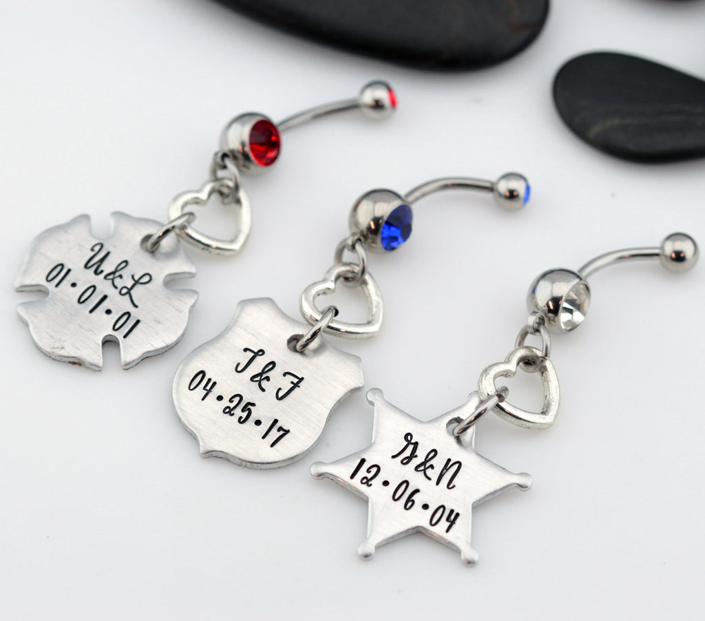 Couples Initials & Date Belly Ring | Maltese Cross | Firefighter | Police Officer Badge | Deputy Sheriff Badge - Hand Stamped