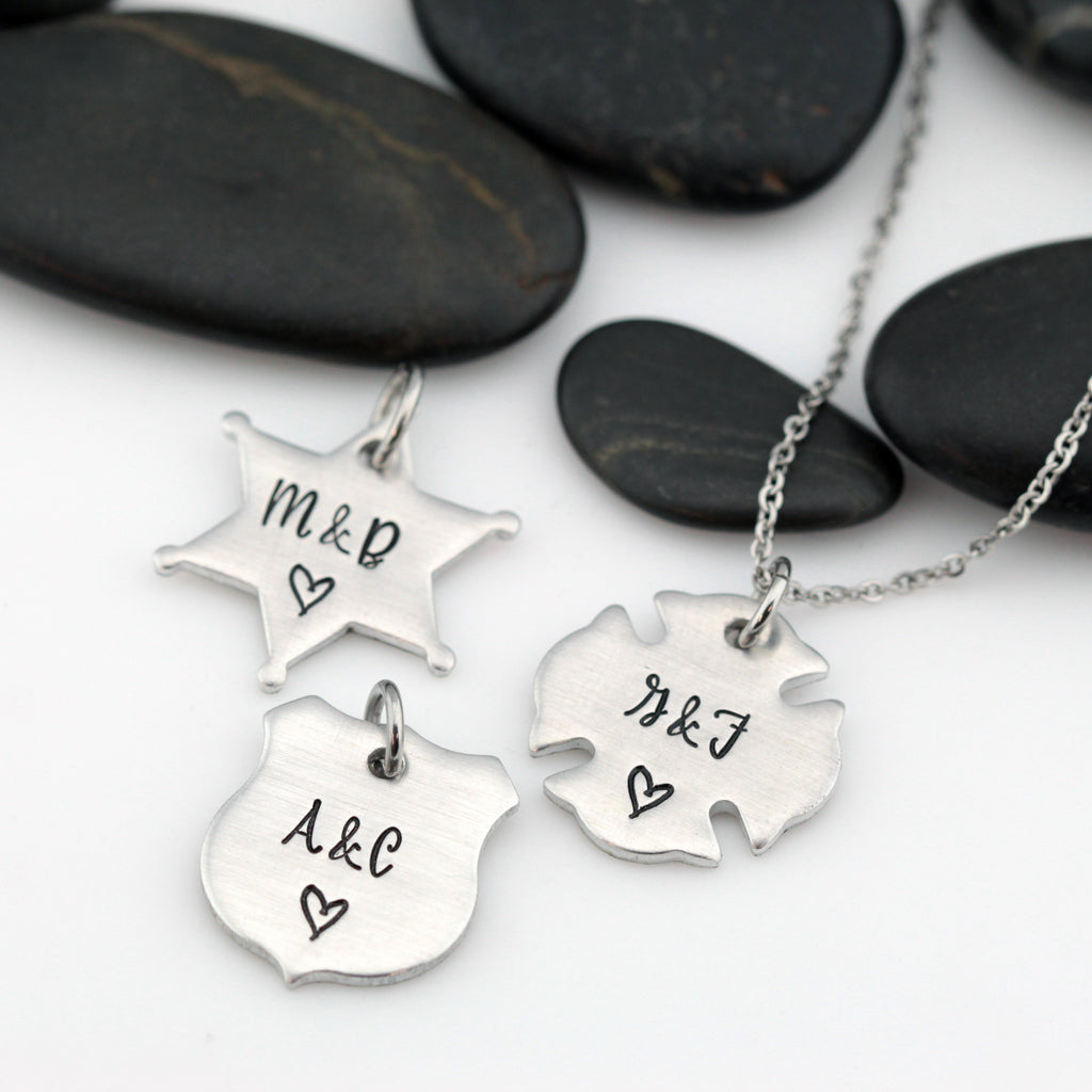 Couples Initials Necklace | Maltese Cross | Firefighter | Police Officer Badge | Deputy Sheriff Badge - Hand Stamped