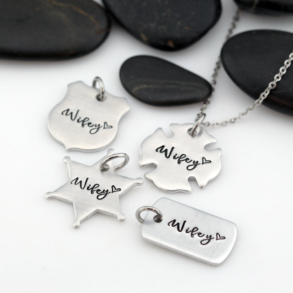 Wifey Necklace | Maltese Cross | Firefighter | Police Officer Badge | Deputy Sheriff Badge | Dog Tag - Hand Stamped