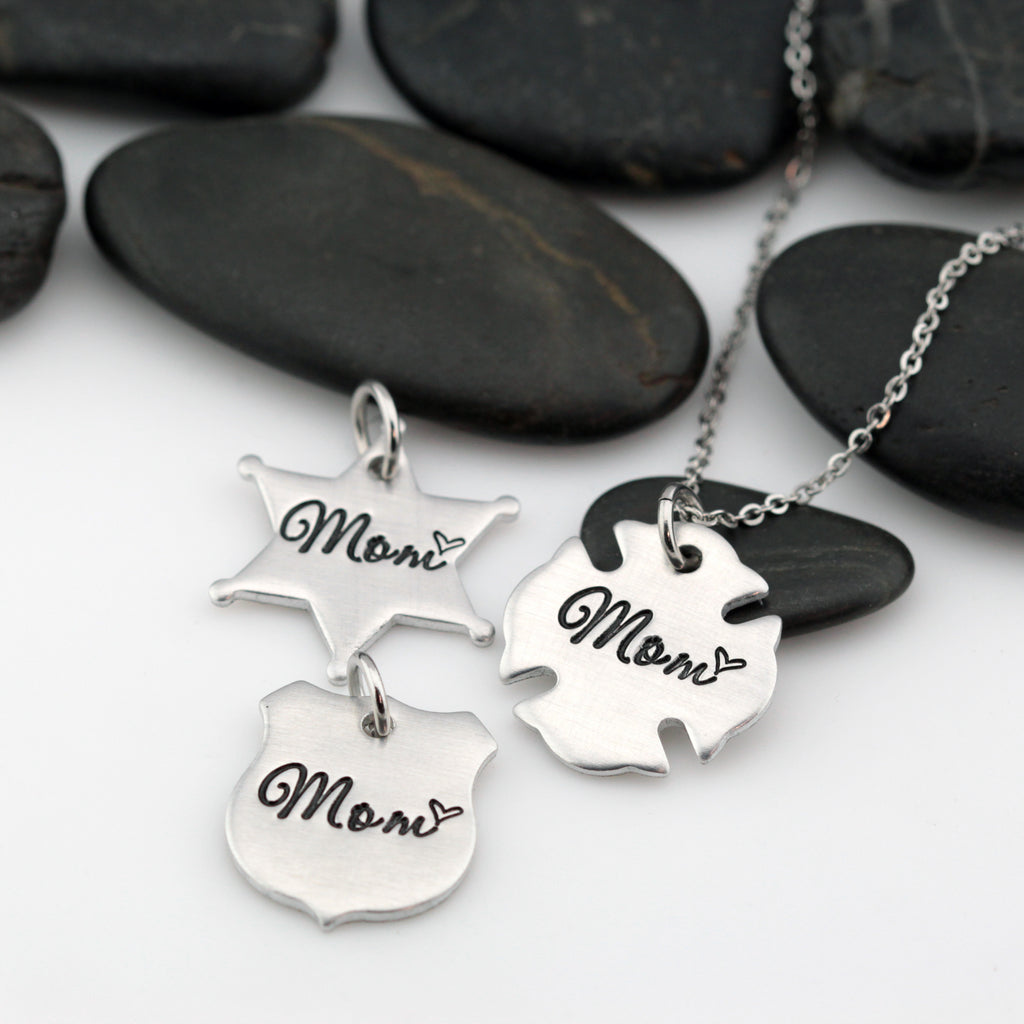 Mom Necklace | Maltese Cross | Firefighter | Police Officer Badge | Deputy Sheriff Badge - Hand Stamped