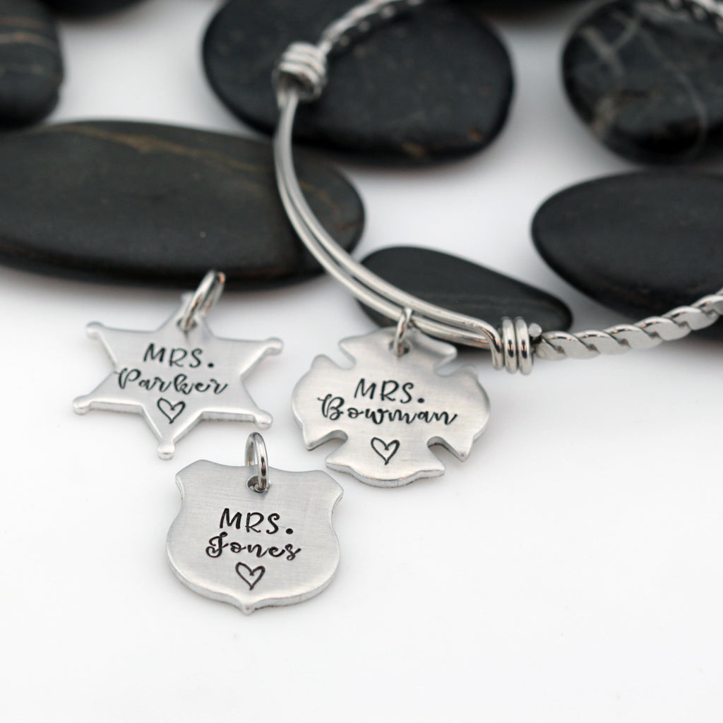 Mrs. Name Bangle | Maltese Cross | Firefighter | Police Officer Badge | Deputy Sheriff Badge - Hand Stamped